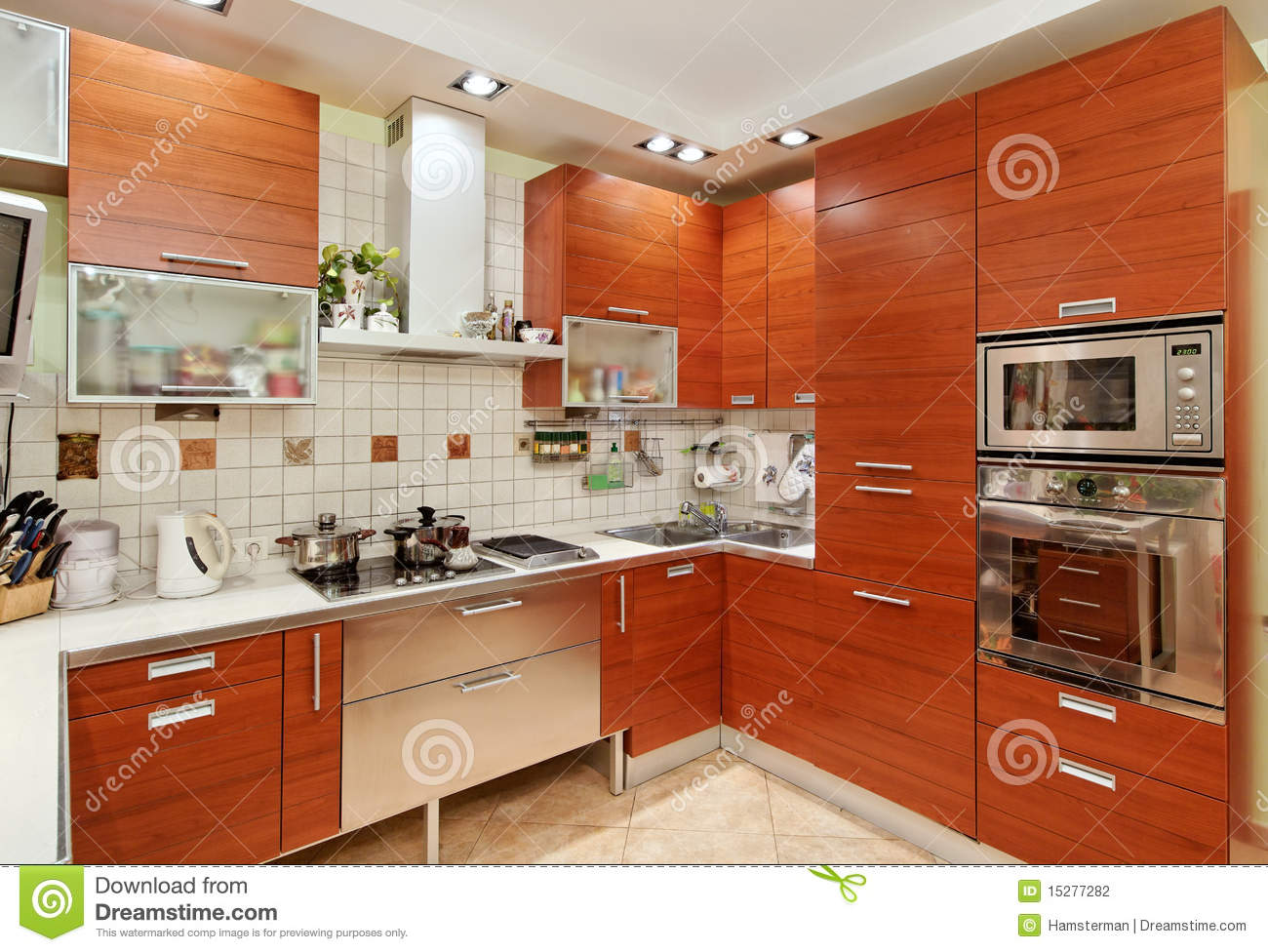 kitchen wood furniture kitchen interior with build in microwave oven royalty free 13880