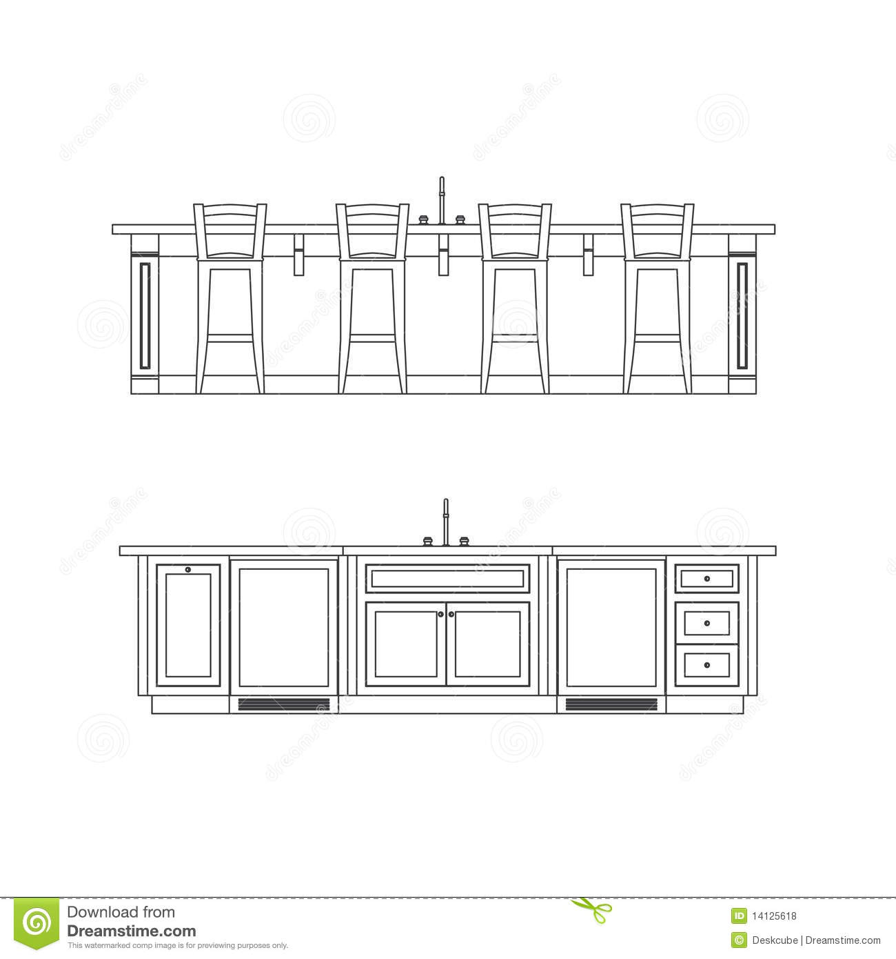 Restaurant Kitchen Layout Autocad: Kitchen Island Stock Vector. Illustration Of Interiors