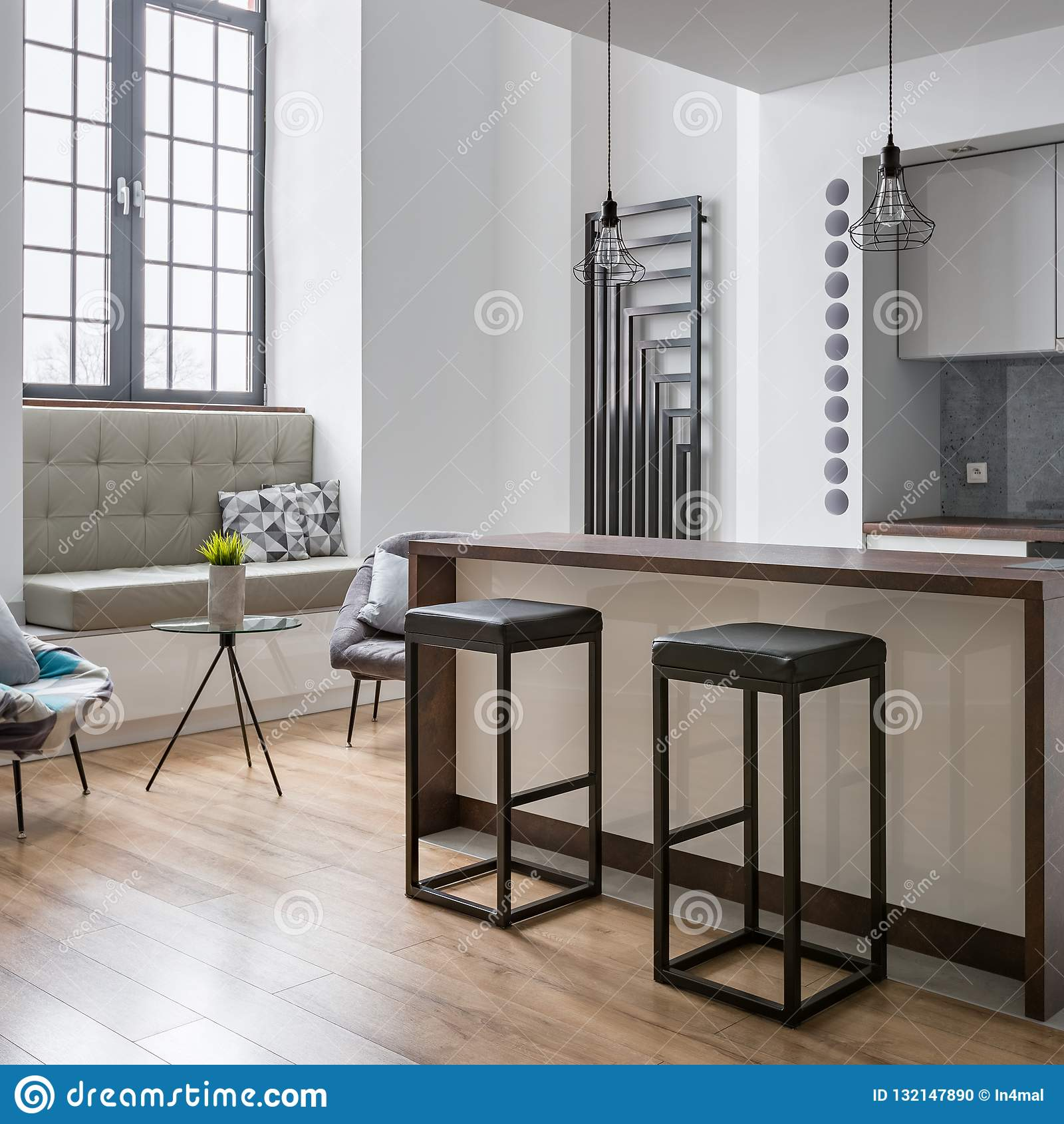 Picture of: Kitchen Island And Bar Stools Stock Photo Image Of Contemporary Heater 132147890