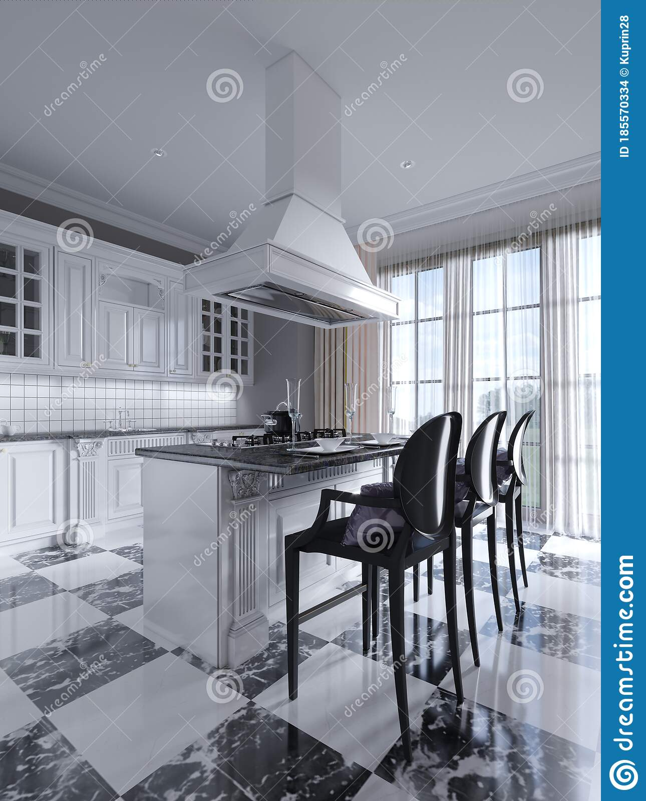 Kitchen Island In Black And White Art Deco With Chess Floor Stock Illustration Of Corner Interior 185570334