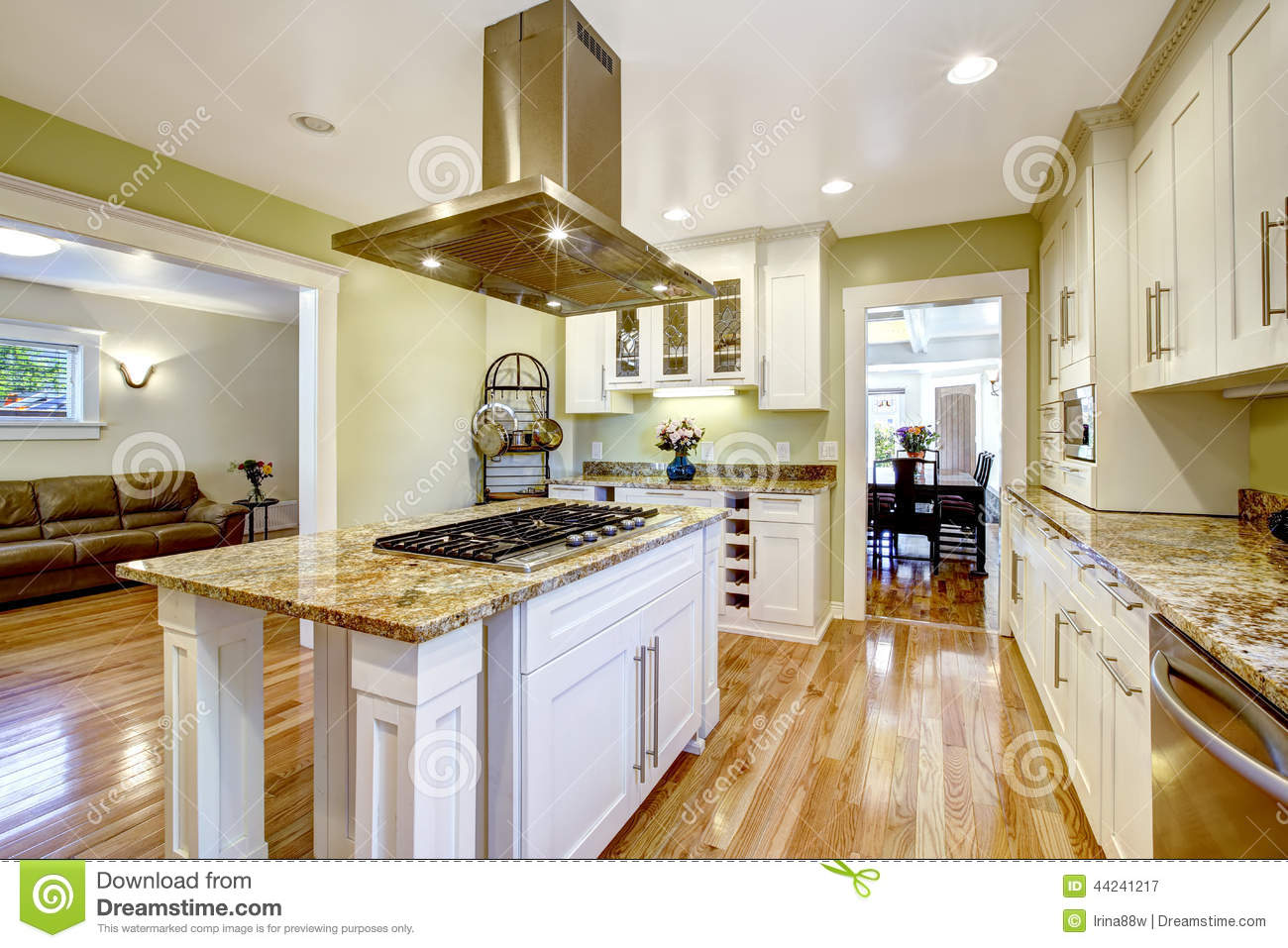 Kitchen island with built in stove granite top and hood for Built in kitchen islands