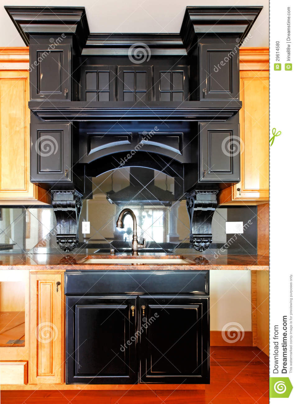 Kitchen Island And Stove Custom Wood Cabinets New Luxury Home Interior Stock Photo Image Of
