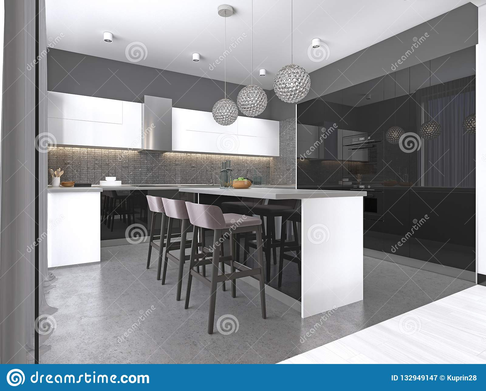 Kitchen Island With Three Bar Stools And Round Glass ...