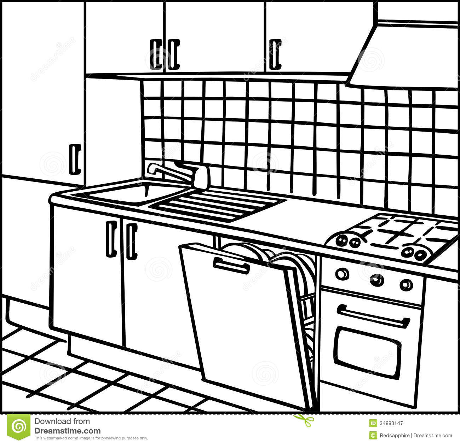 Line Art Vector Illustrator : Kitchen royalty free stock photography image