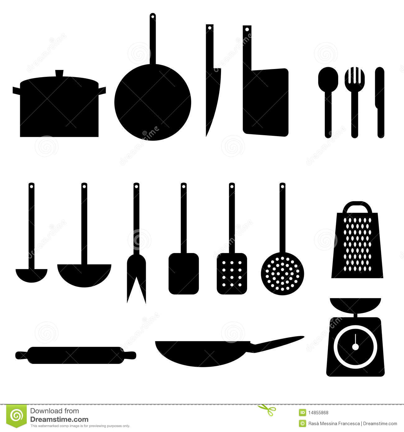 Kitchen items variegated vector icons set cartoon vector for Kitchen set vector
