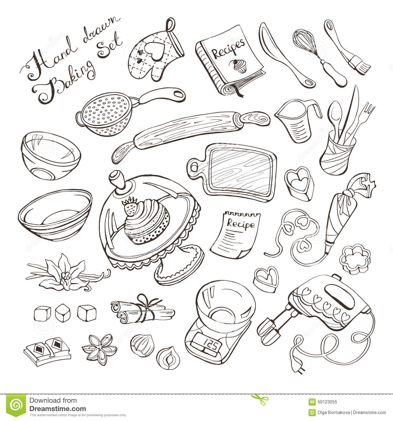 Kitchen Hand Tools And Their Uses With Pictures: Kitchen Items For Baking Stock Vector