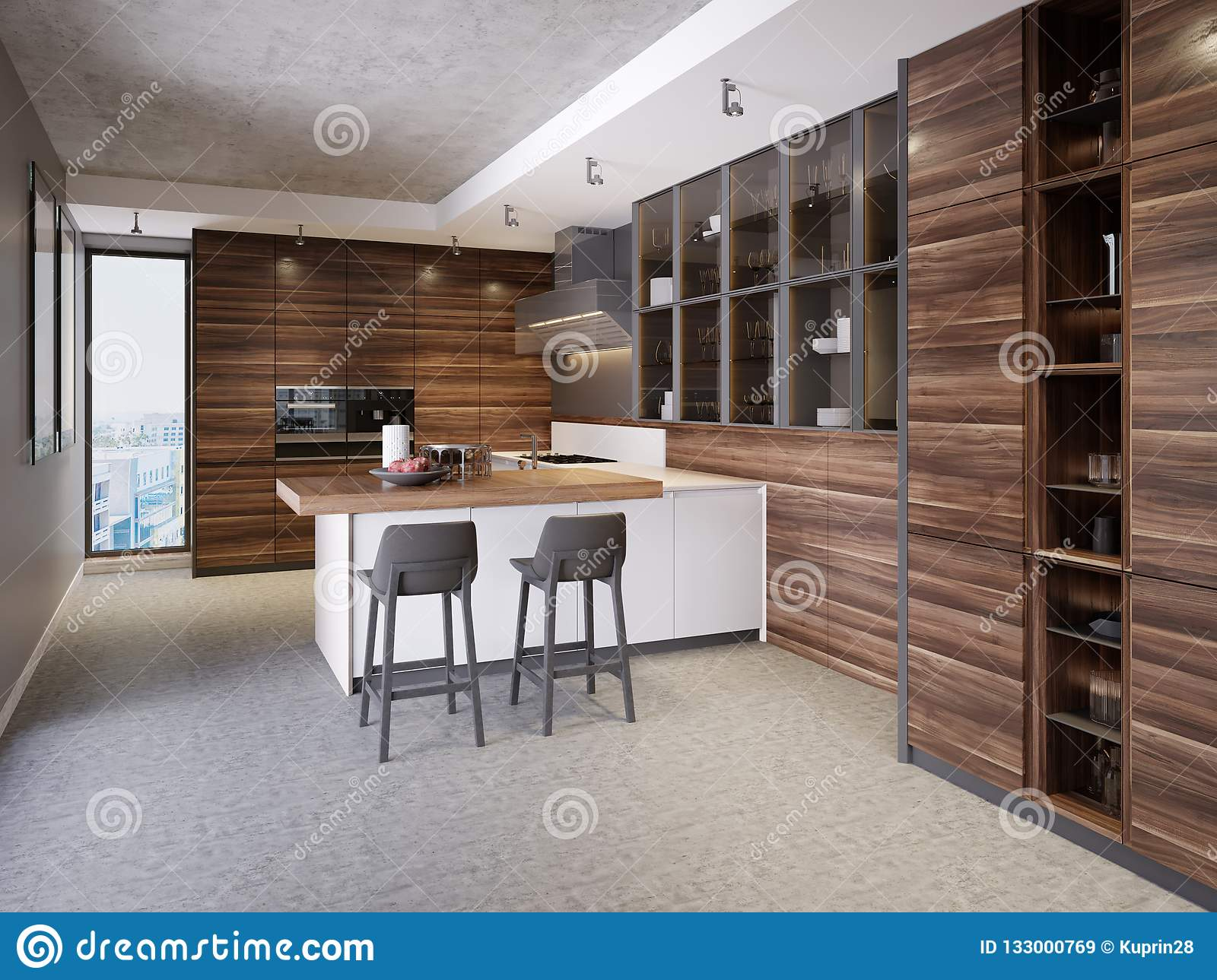 A Kitchen With A Kitchen Island With Two Chairs In A Modern ...