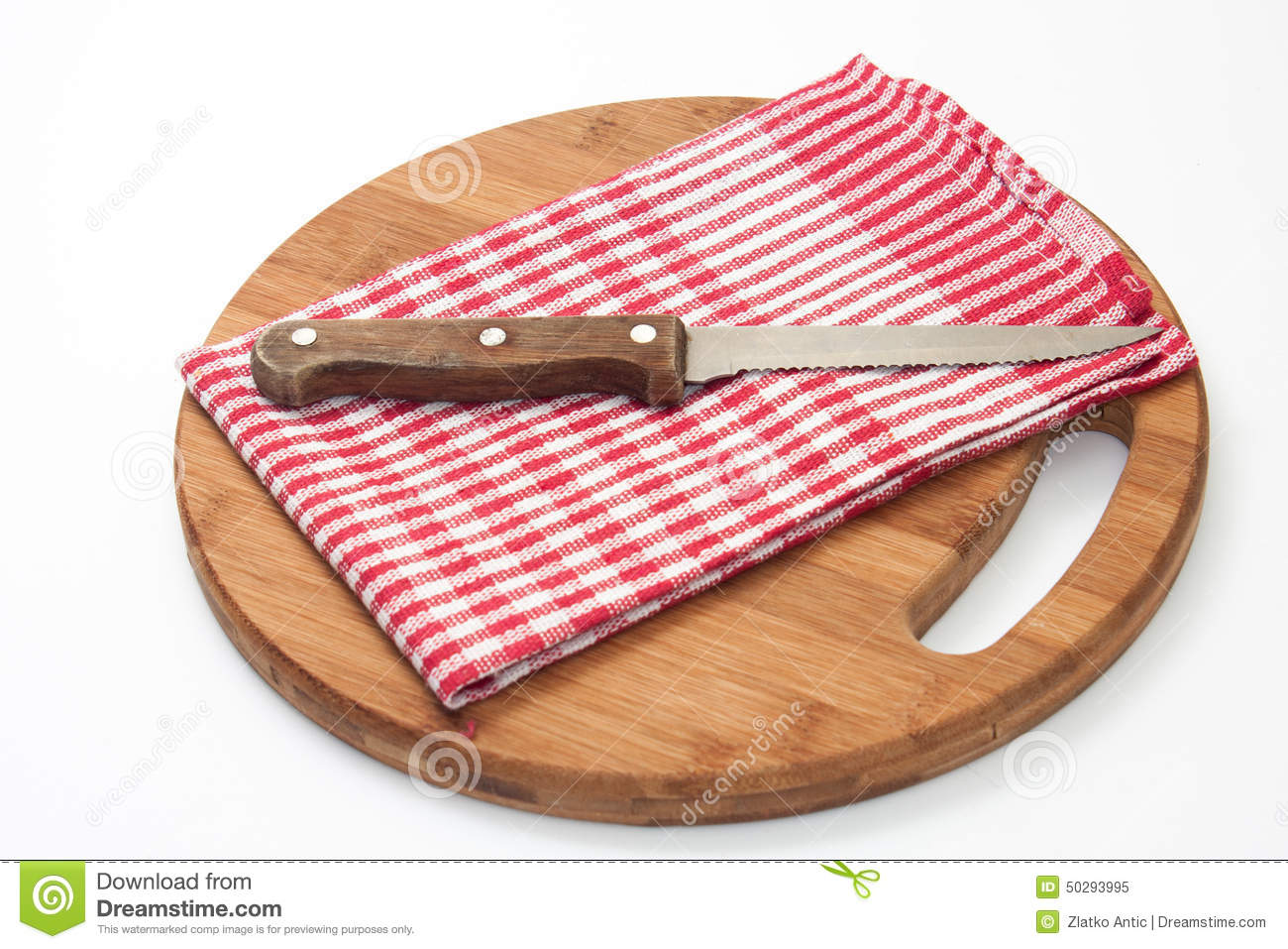 Kitchen Knife On The Cloth And Wooden Board Stock Image
