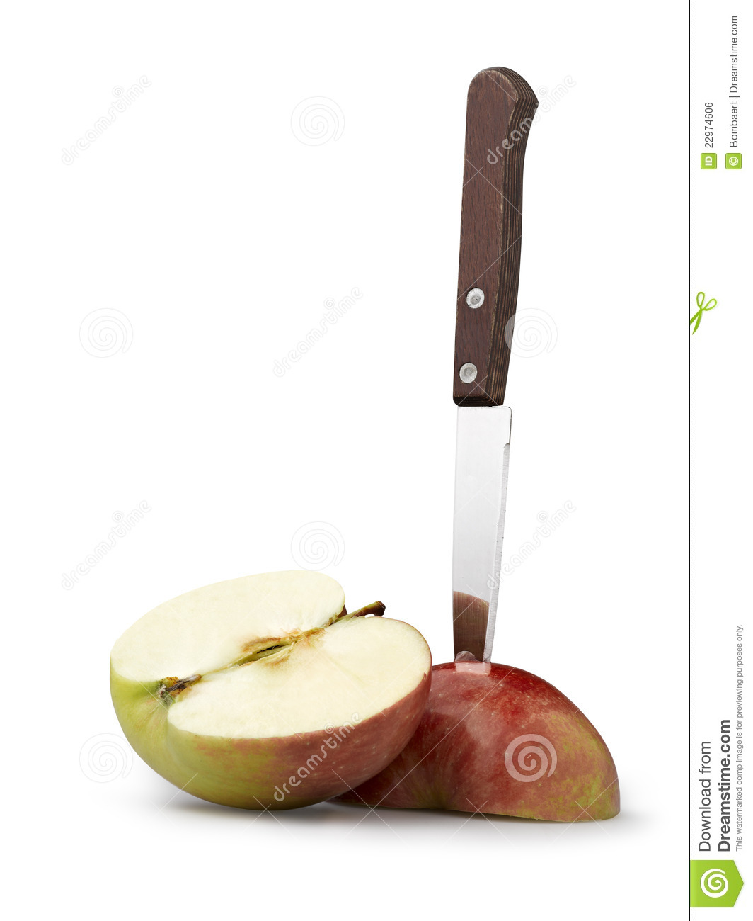 More similar stock images of kitchen knife cutting a red apple