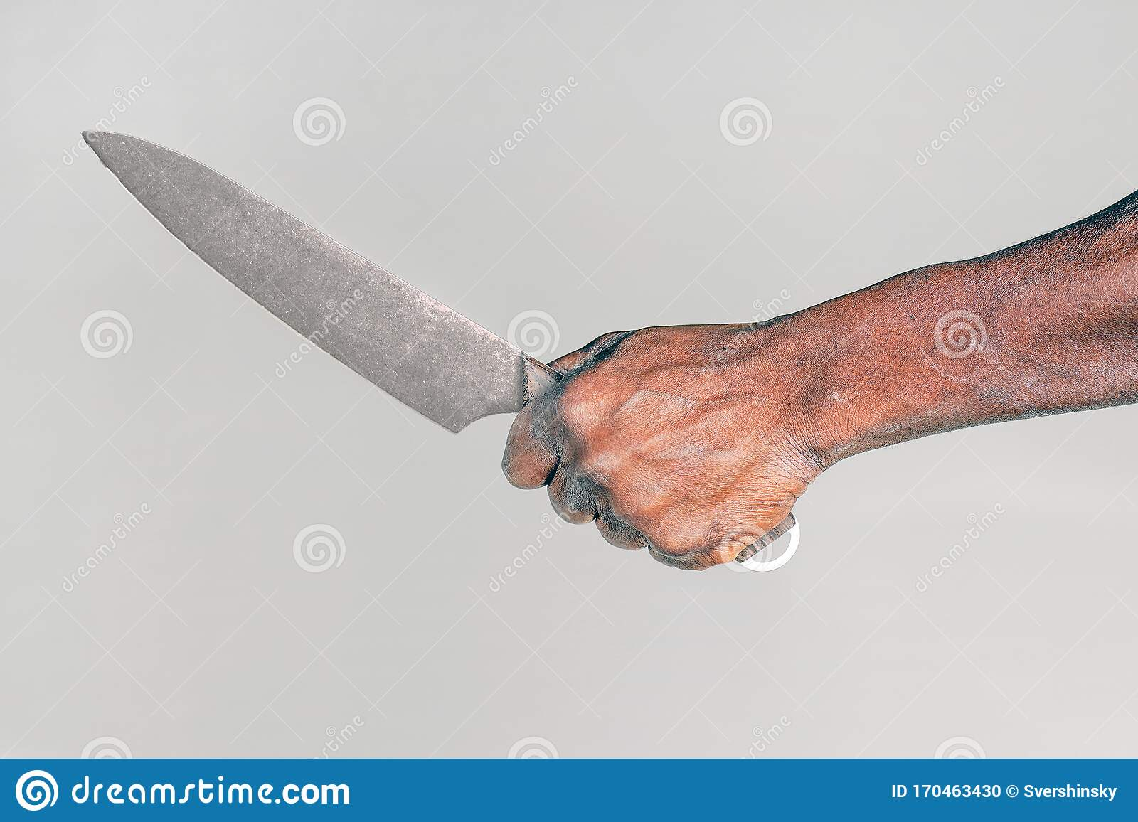Kitchen Knife In A Hand Big Kitchen Knife In African Man Hand Stock Photo Image Of Murderer Fear 170463430