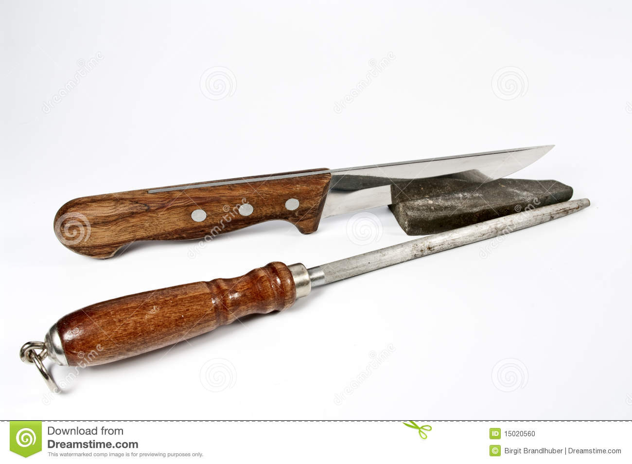 kitchen knife and stone for sharpening stock photo image