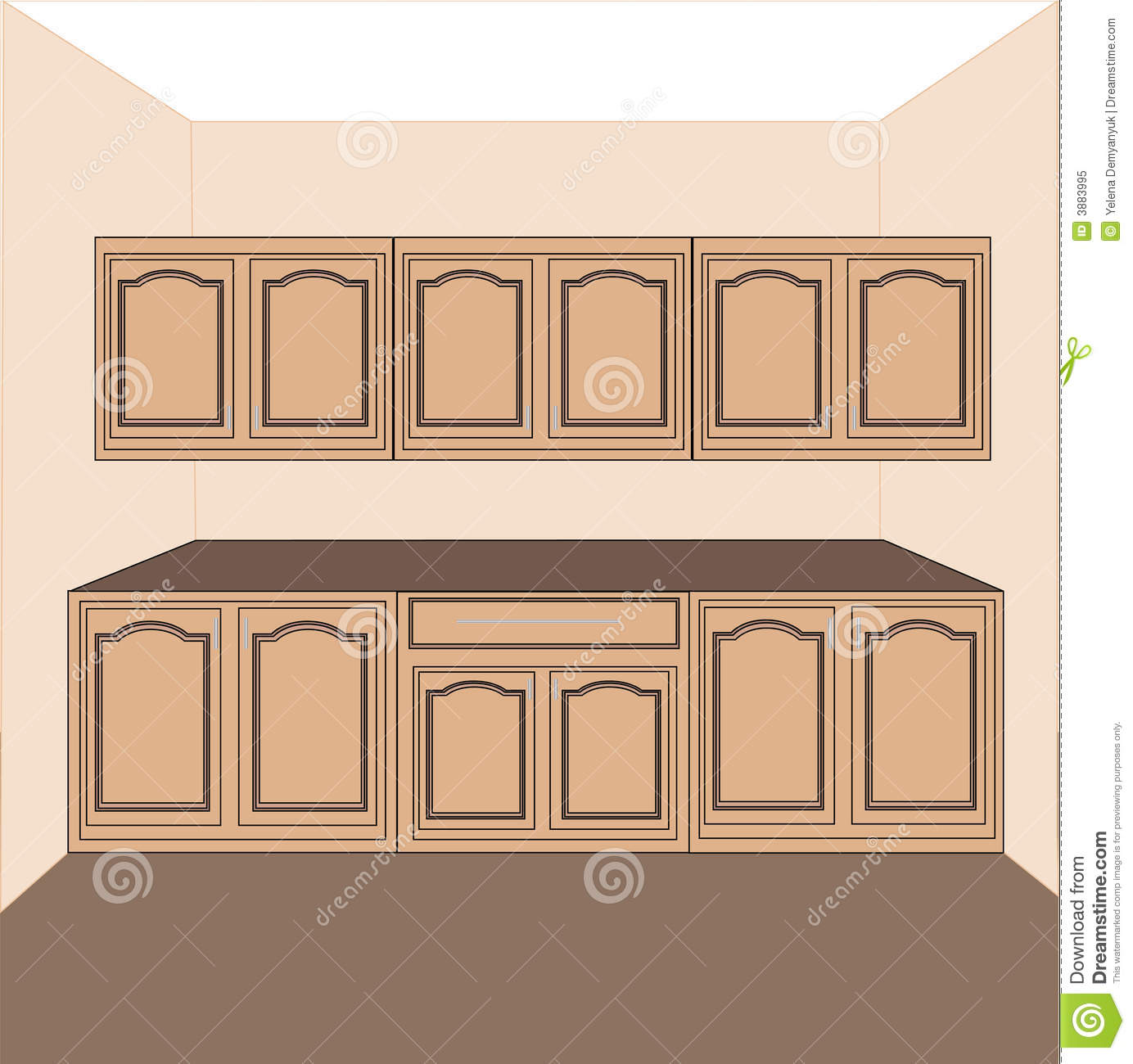 kitchen laundry cabinets vector royalty free stock photo image 3883995. Black Bedroom Furniture Sets. Home Design Ideas