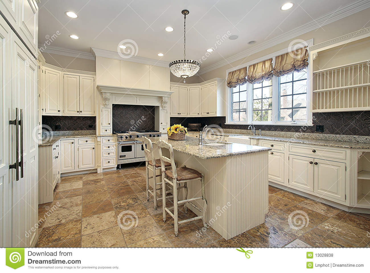 Kitchen With Light Wood Cabinetry Royalty Free Stock ...