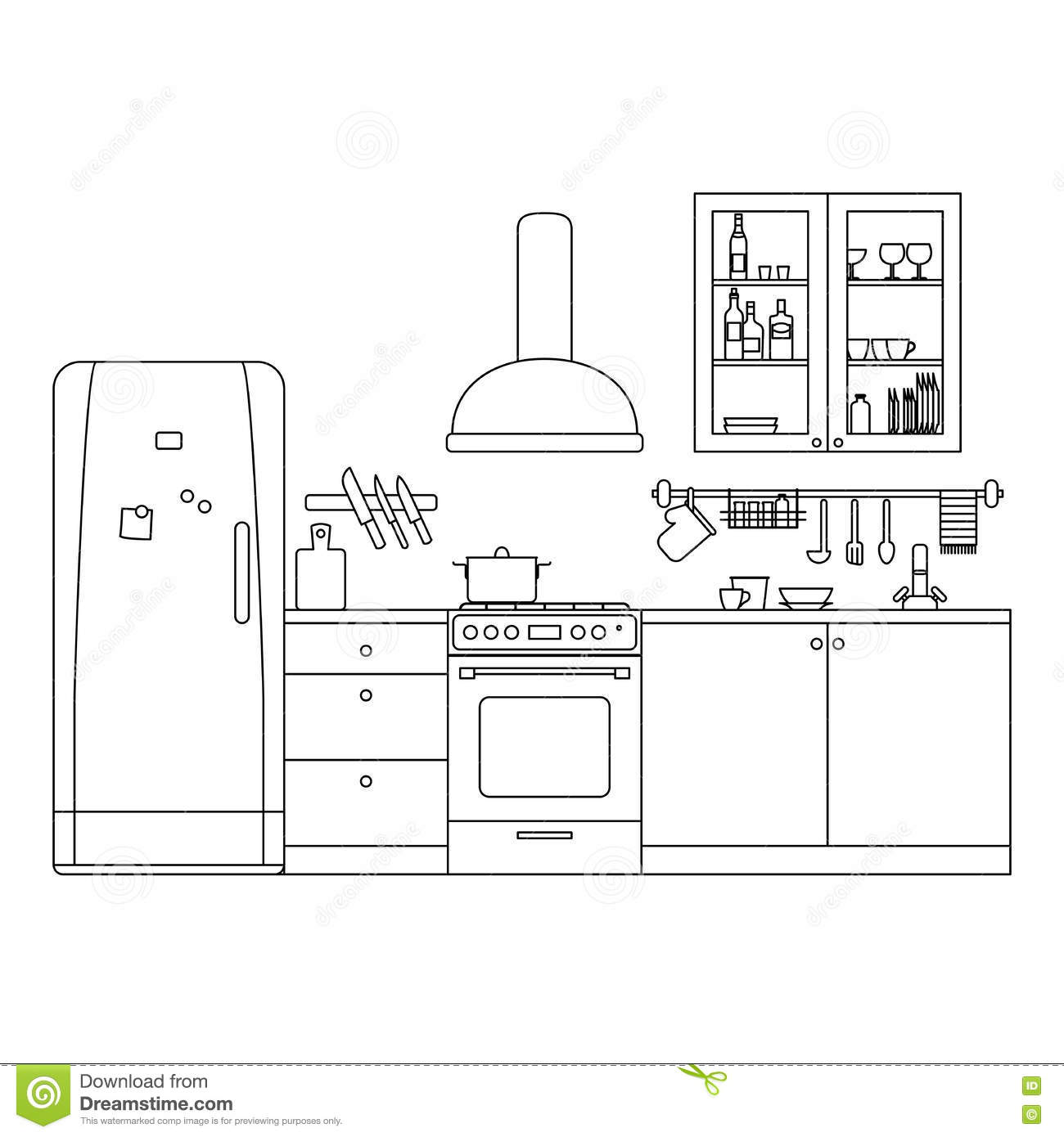 Kitchen Line Messerset : kitchen line interior stock vector image 72853990 ~ Whattoseeinmadrid.com Haus und Dekorationen