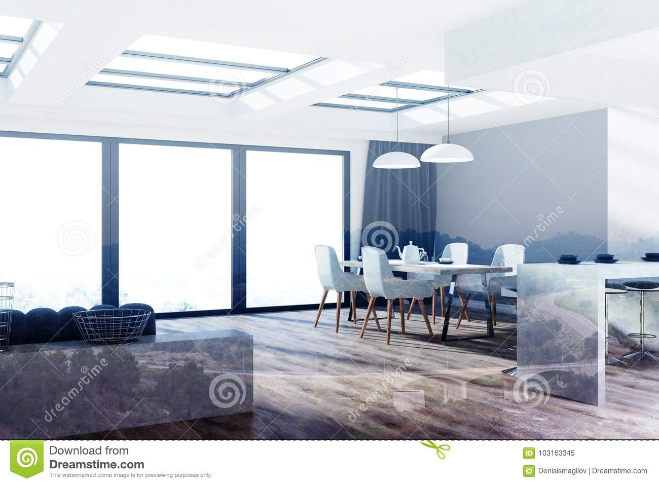 Gray Wooden Kitchen Dining Room Corner Toned