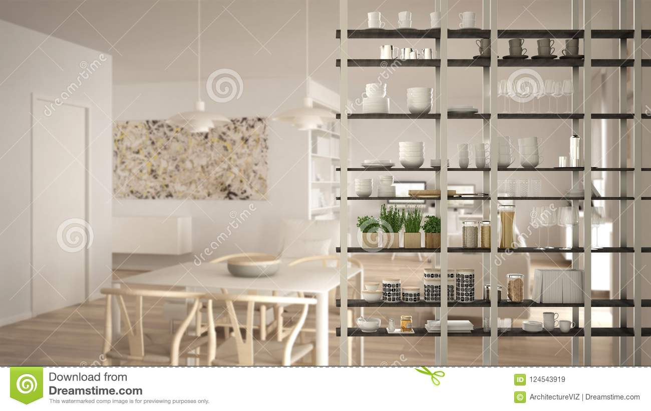 Kitchen Living Room Shelving System Foreground Close Up Interior