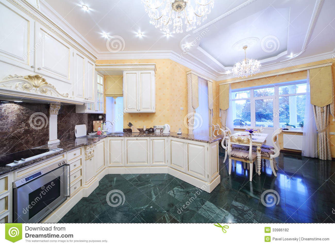 Marble Floor Kitchen Kitchen With Luxury Furniture In Classic Style Marble Floor
