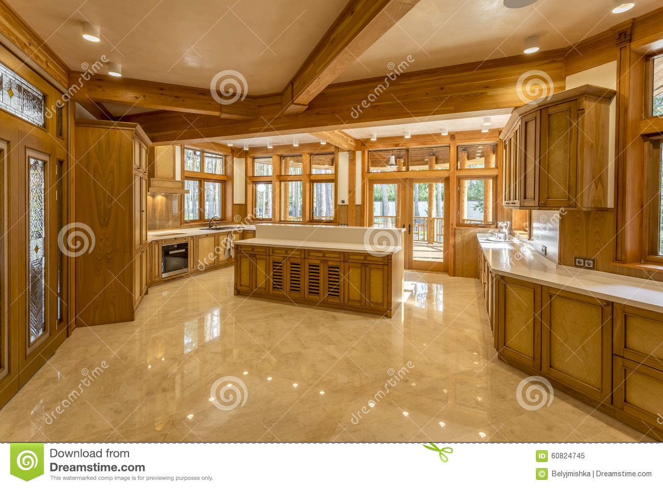 Kitchen made of wood in eco house