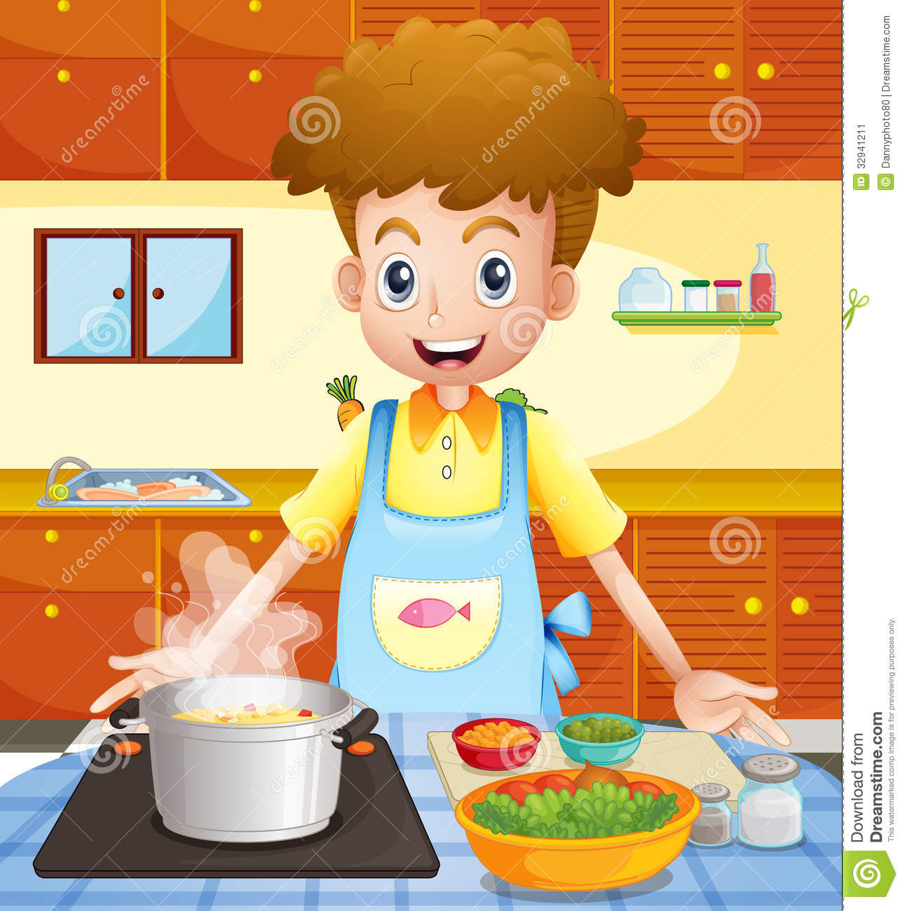 Selection of cartoons on cooking kitchens food and eating - Cooking Illustration Kitchen