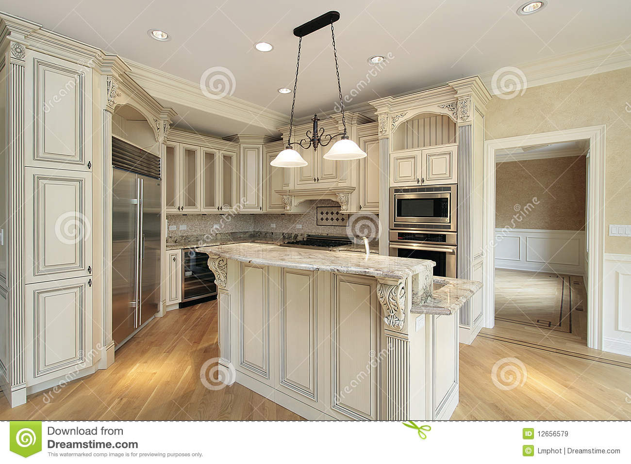 kitchen with marble island royalty free stock images image 12656579 home kitchen