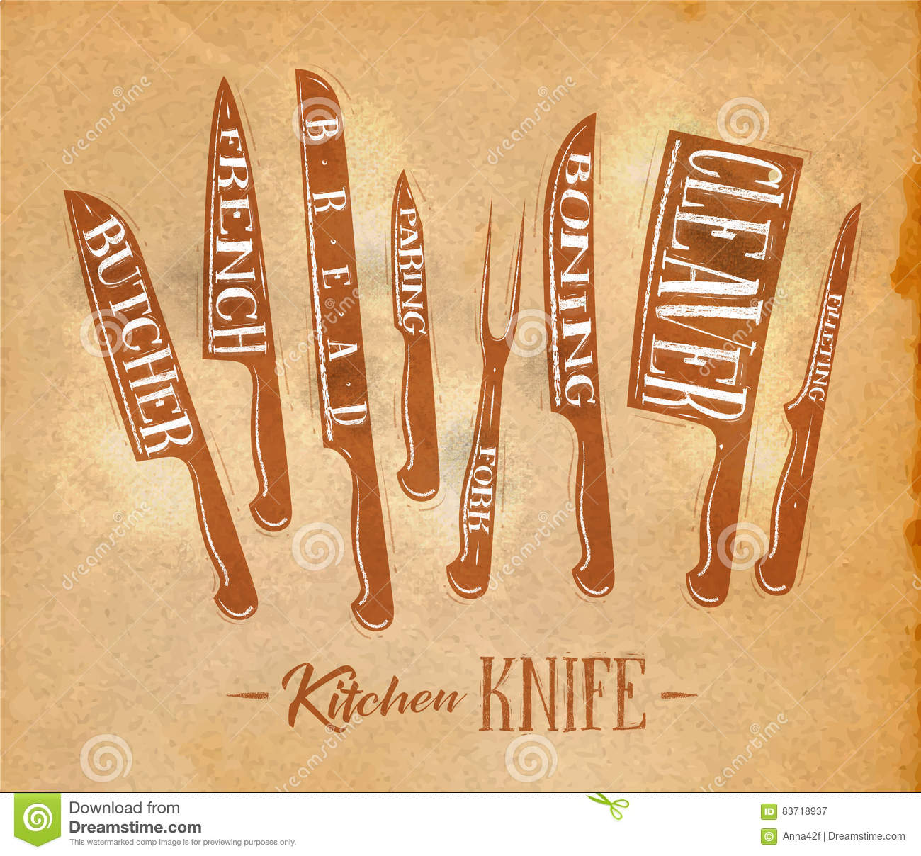 kitchen meat cutting knifes poster craft stock vector illustration
