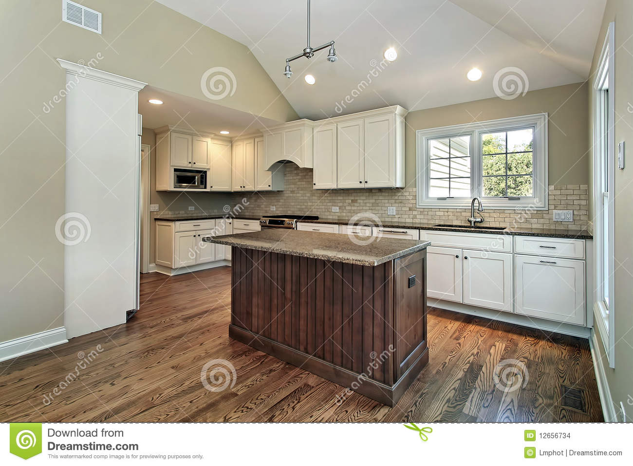 Kitchen With Middle Island Stock Images Image 12656734