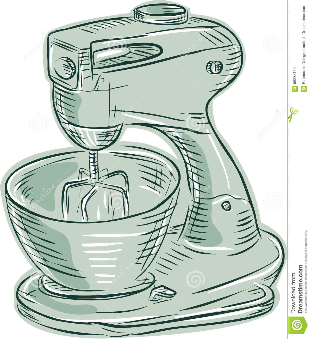 Cartoon Kitchen Mixer ~ Kitchen mixer vintage etching stock vector image