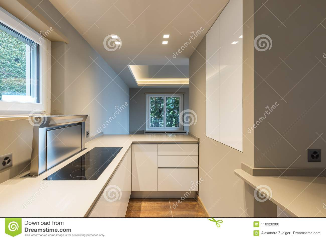 Kitchen With Modern White Furniture And Latest Generation ...