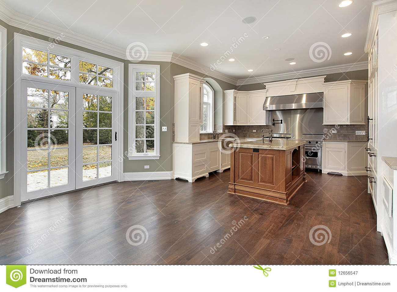Kitchen in new construction home royalty free stock for Building a new kitchen
