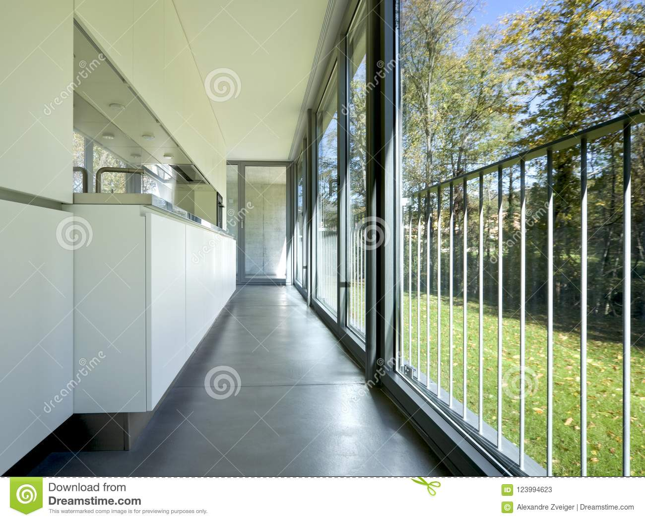Kitchen Of A New And Empty Modern Apartment. Stock Image - Image of ...