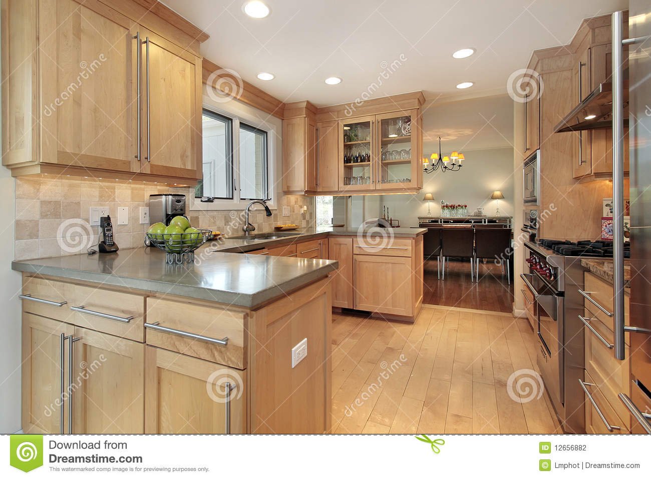 Kitchen With Oak Wood Paneling Stock Photography Image 12656882
