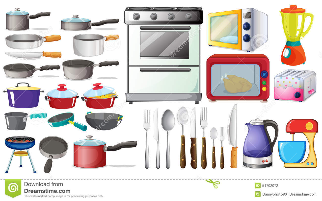 Kitchen objects stock vector image 51702072 - Enseres de cocina ...