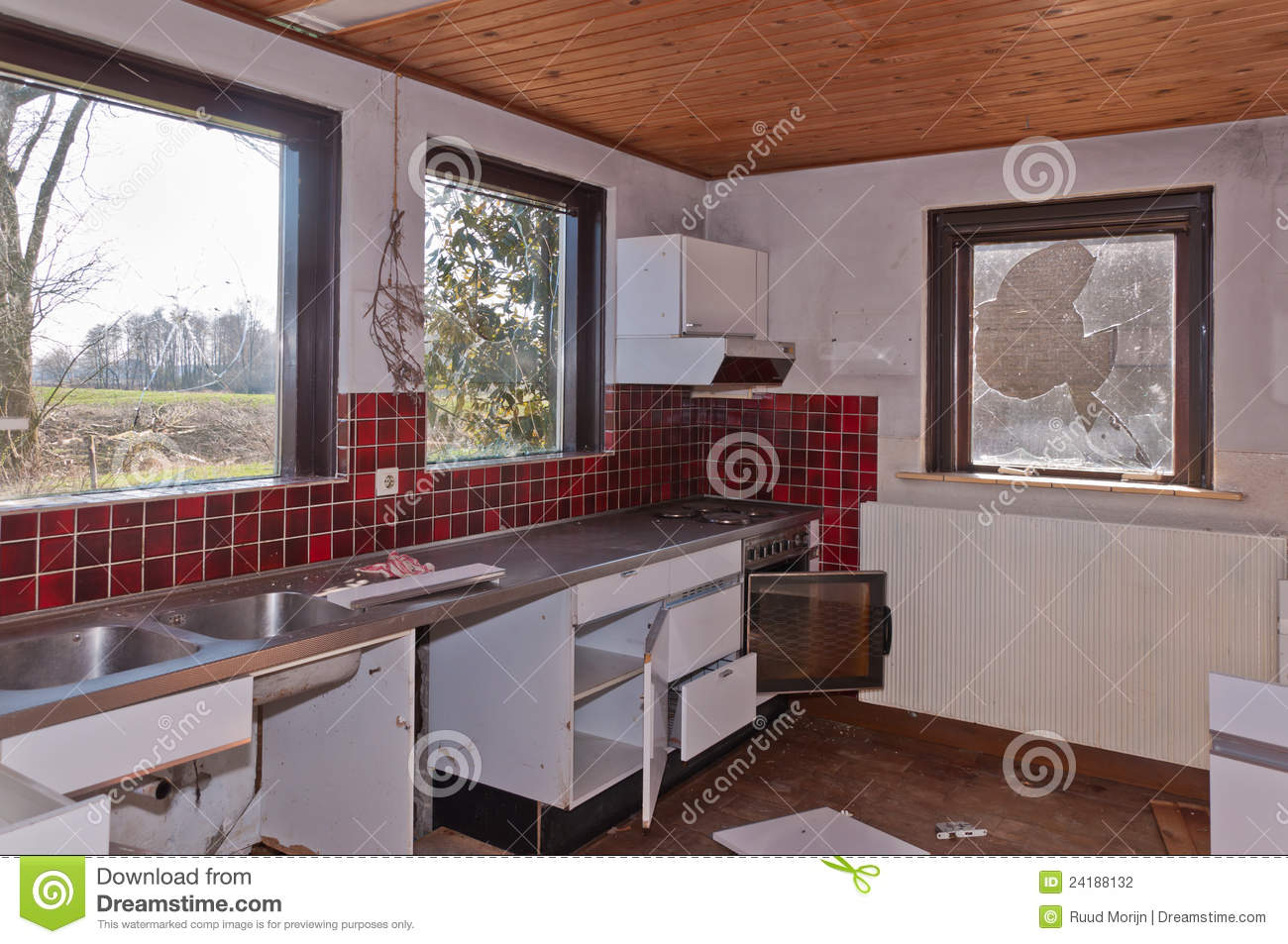 kitchen of an old dutch farm partly demolished stock photography image 24188132. Black Bedroom Furniture Sets. Home Design Ideas