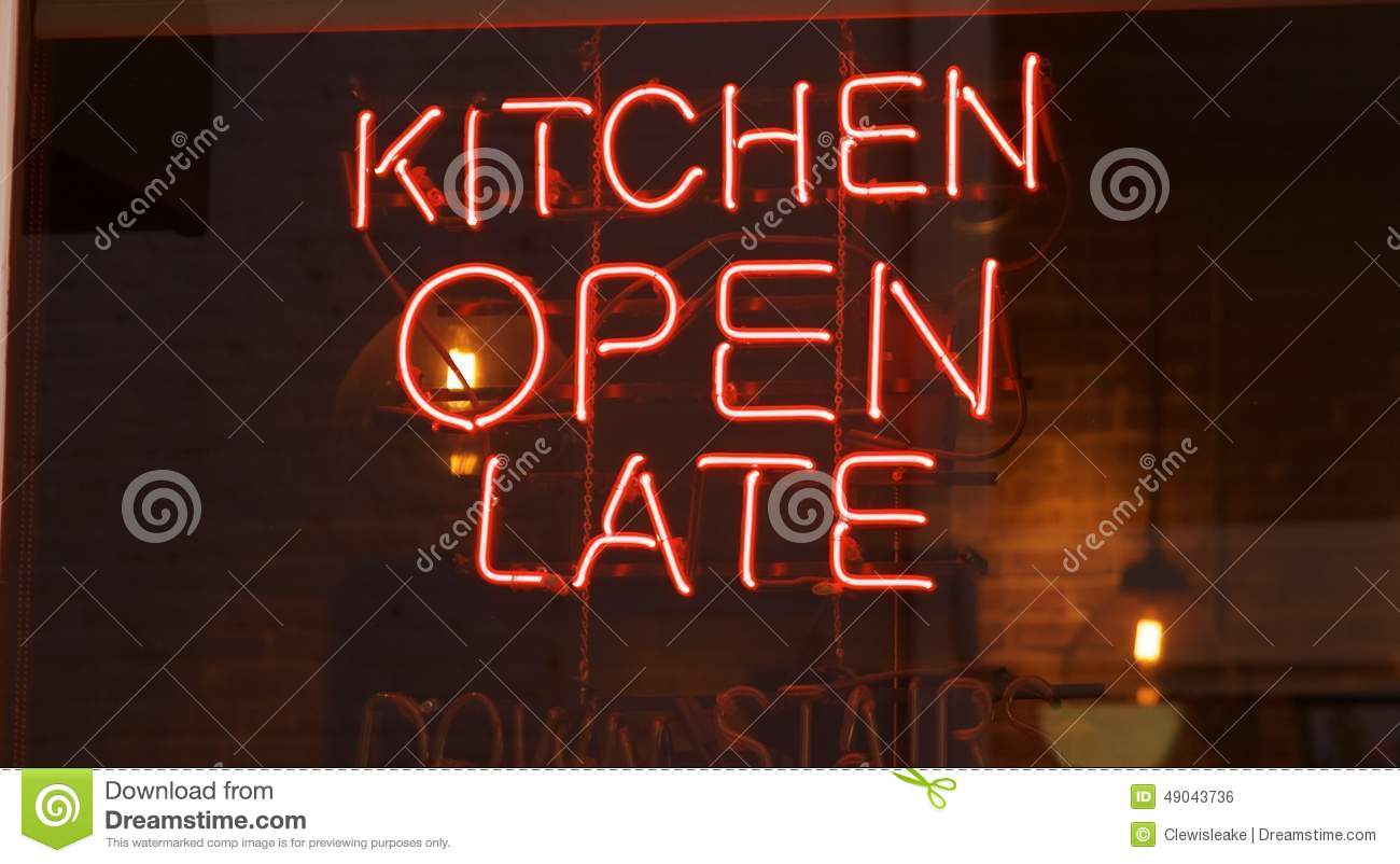 Kitchen Open Late Neon Sign Stock Photo Image 49043736