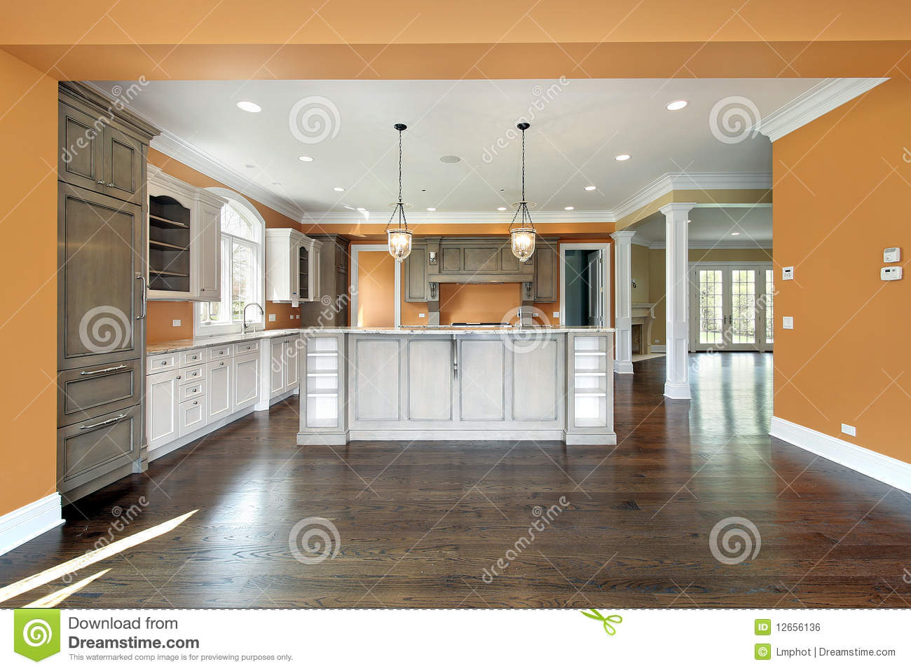 Kitchen with orange walls royalty free stock image image - Kitchen with orange walls ...