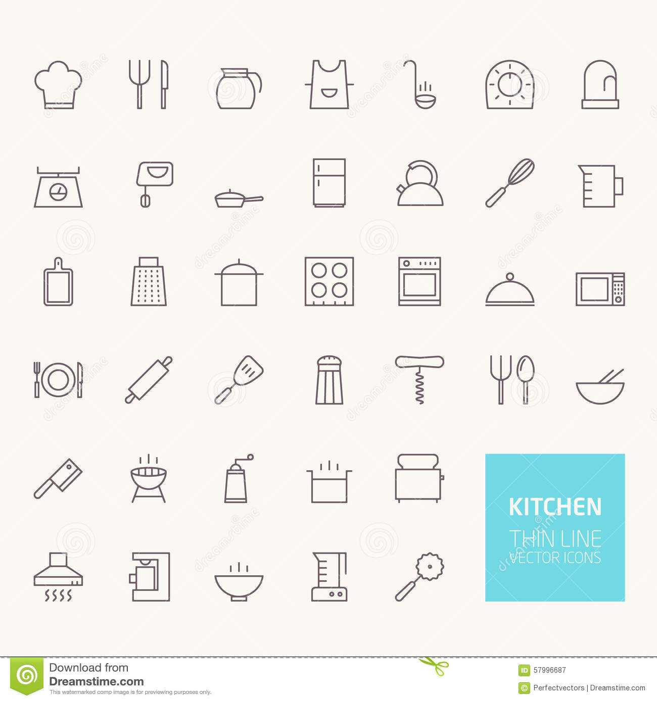 Kitchen Outline Icons Stock Vector - Image: 57996687