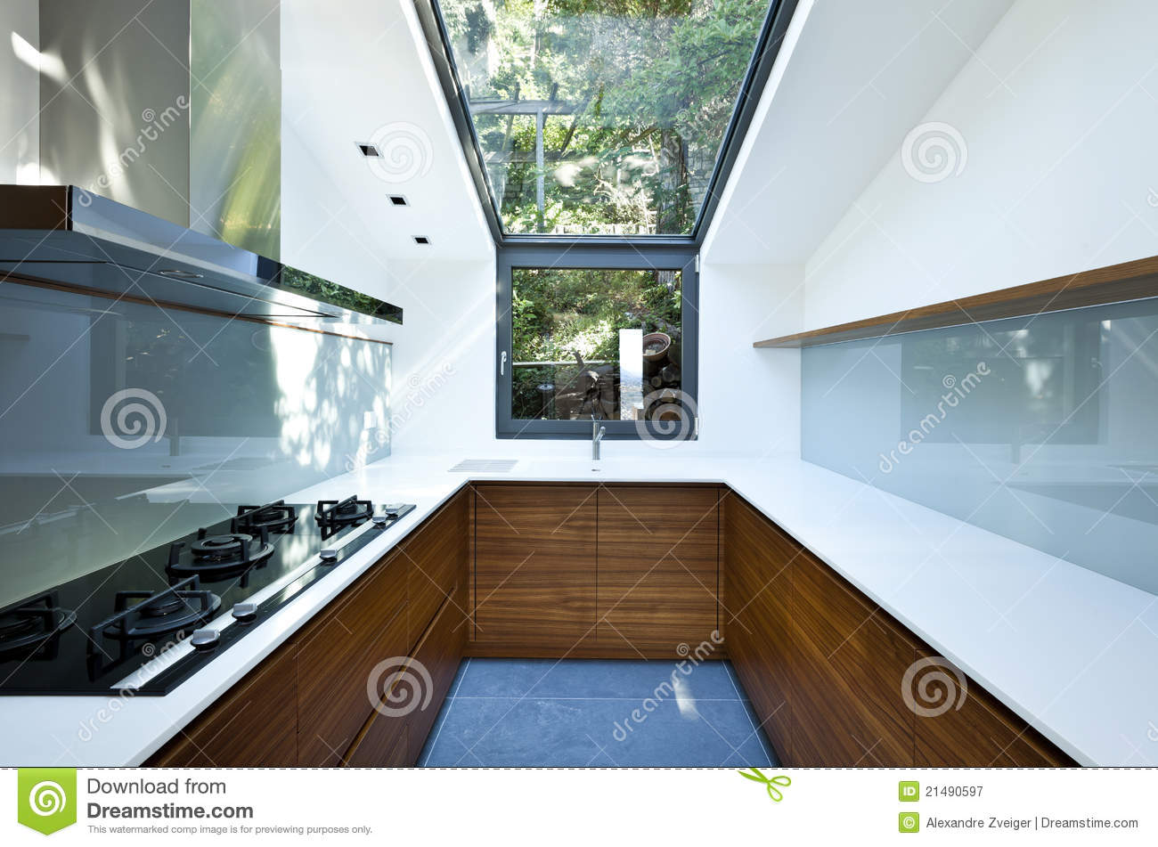 Garage Apartment Floor Plans Kitchen With Panoramic Window Royalty Free Stock