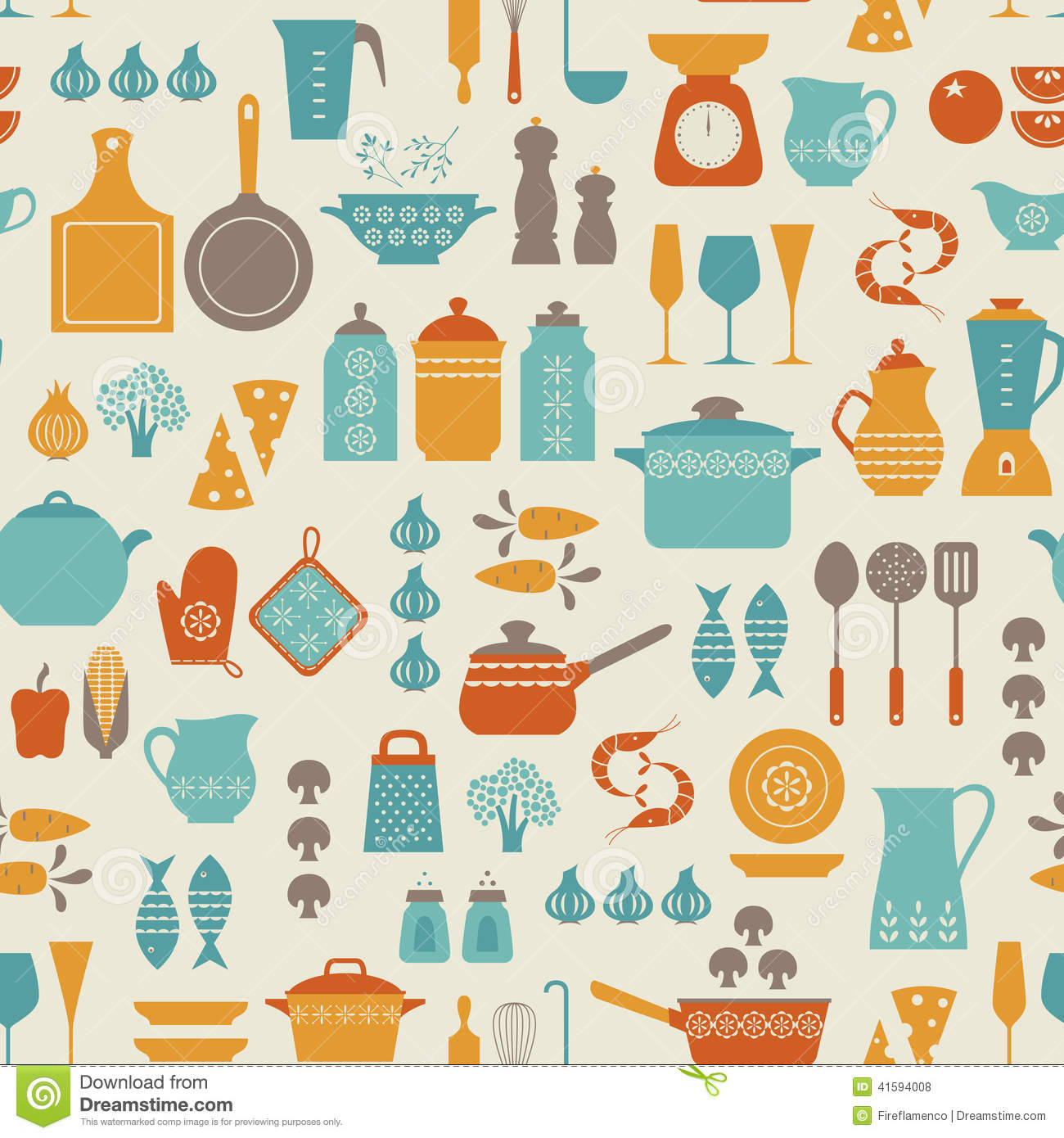 Kitchen pattern stock vector image 41594008 for Kitchen print wallpaper
