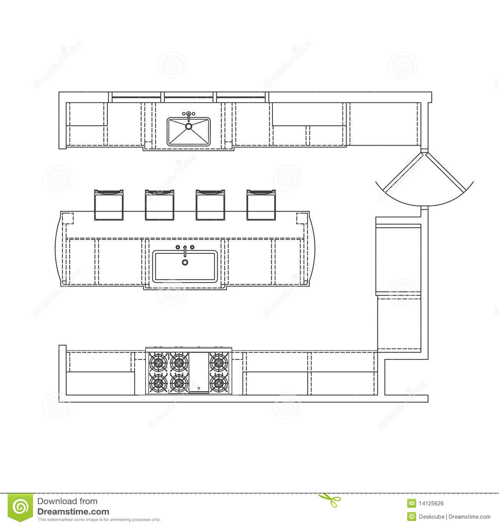 Kitchen Floor Plans And Elevations: Kitchen Plan Stock Illustration. Illustration Of Drawers