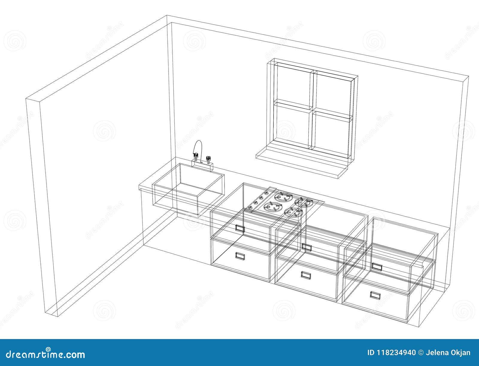 kitchen plan architect blueprint isolated stock illustration