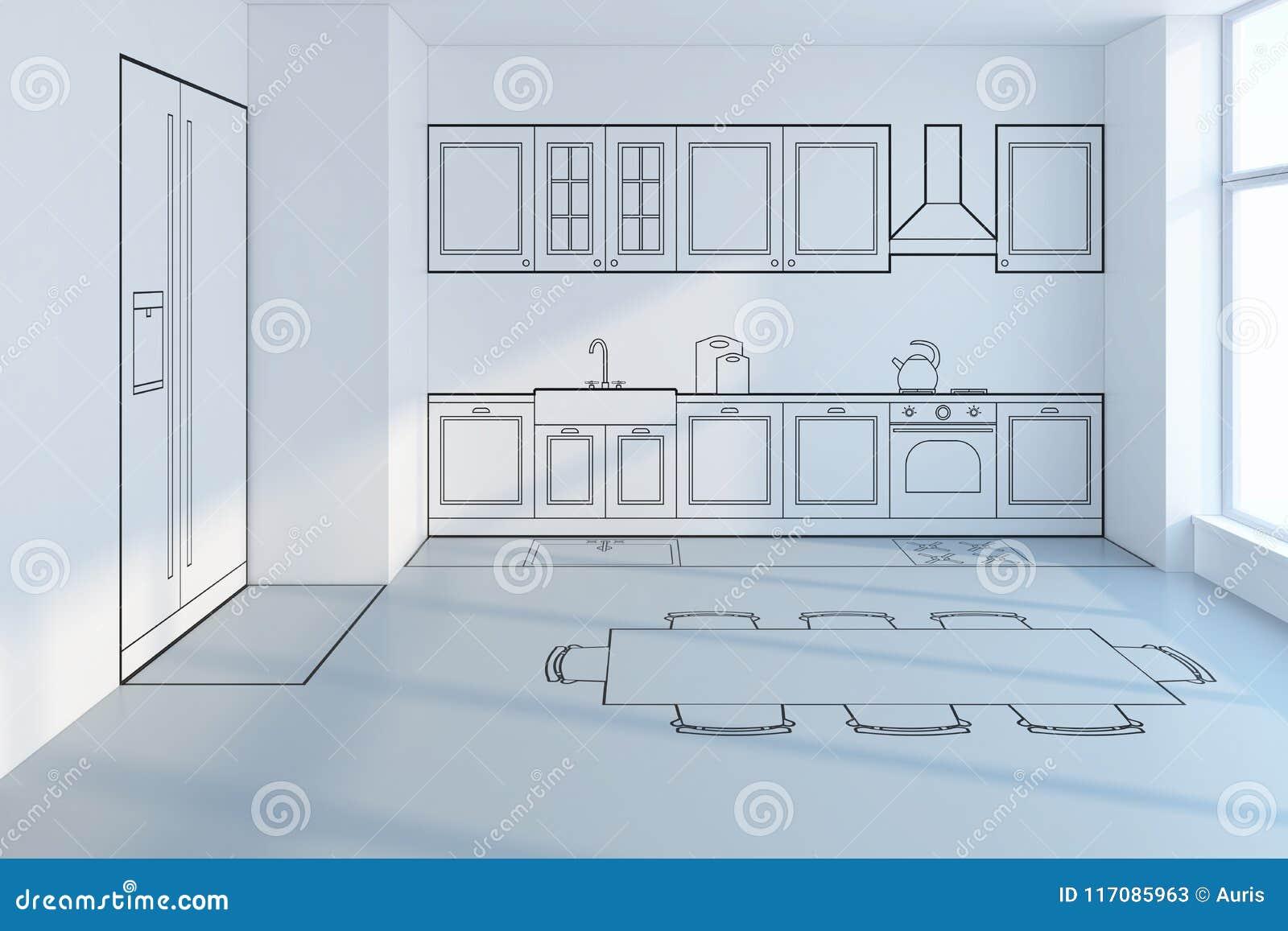 Astonishing Kitchen Planning Design Stock Illustration Illustration Of Interior Design Ideas Philsoteloinfo