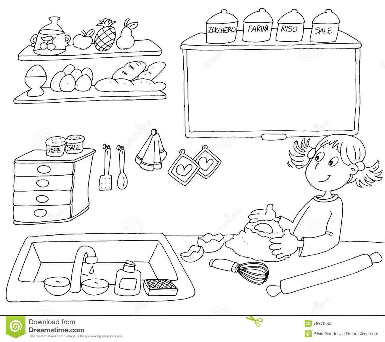 Coloring book kitchen - Boards Books Cake Chine Coloring Girl Kids Kitchen