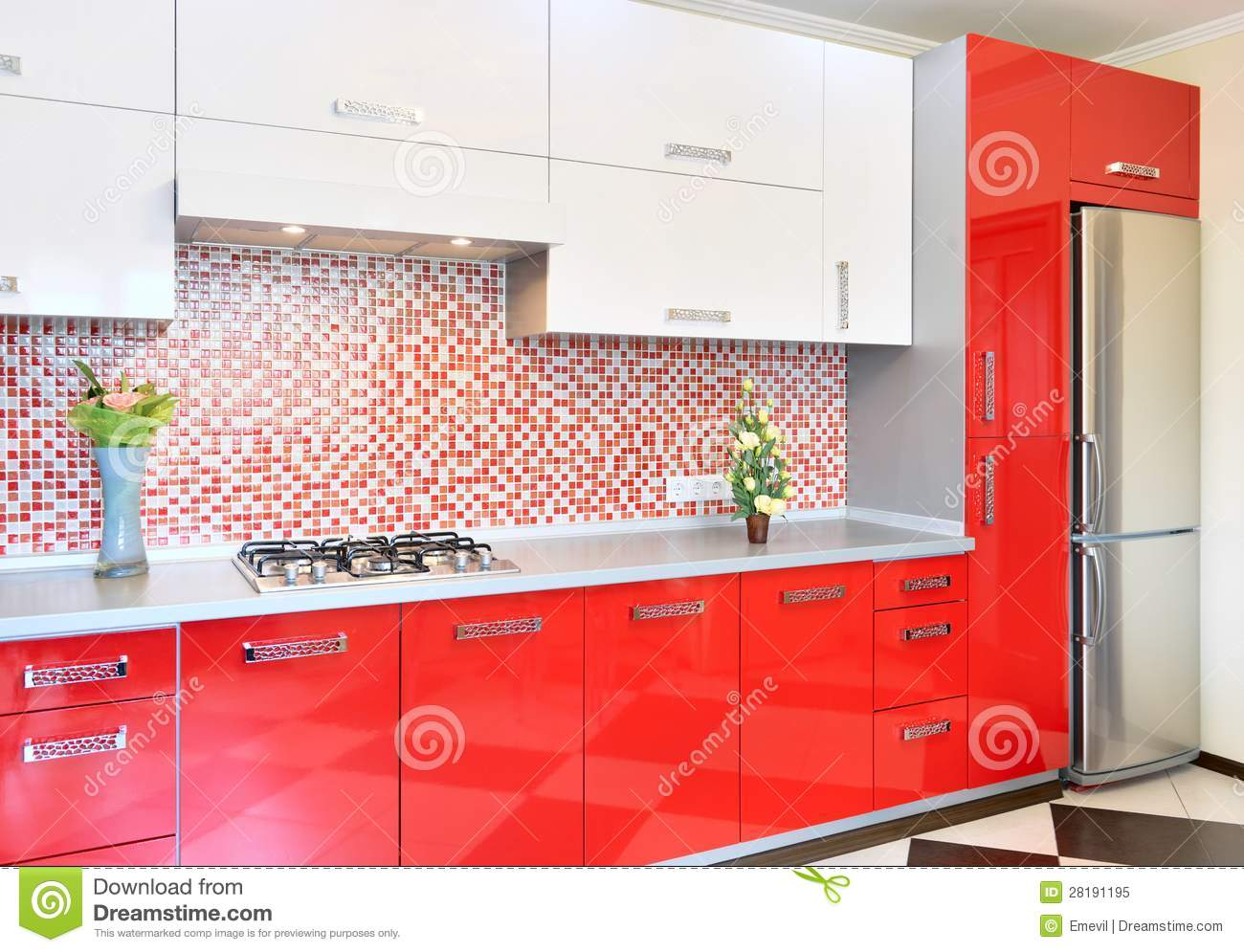 kitchen design red white kitchen and white stock image image of architecture 927