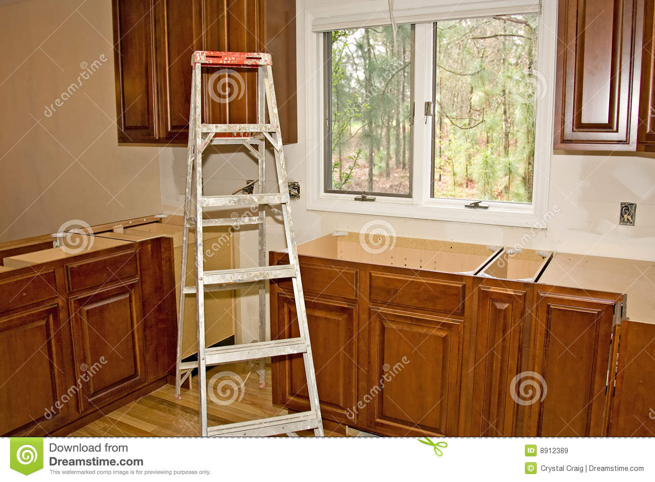 Kitchen remodel cabinets home improvement stock image for Home improvement kitchen cabinets