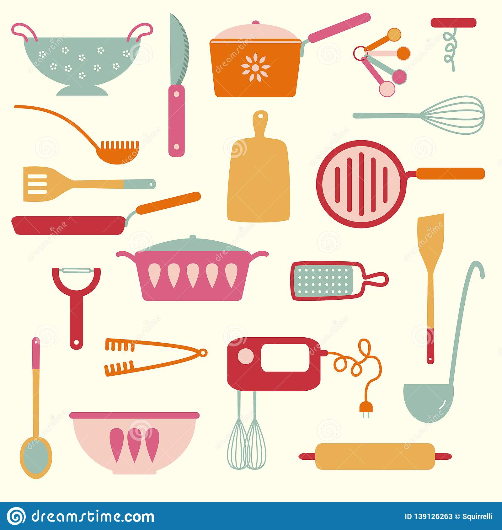 Kitchen And Restaurant Equipment And Utensils Stock Vector Illustration Of Backgrounds Board 139126263