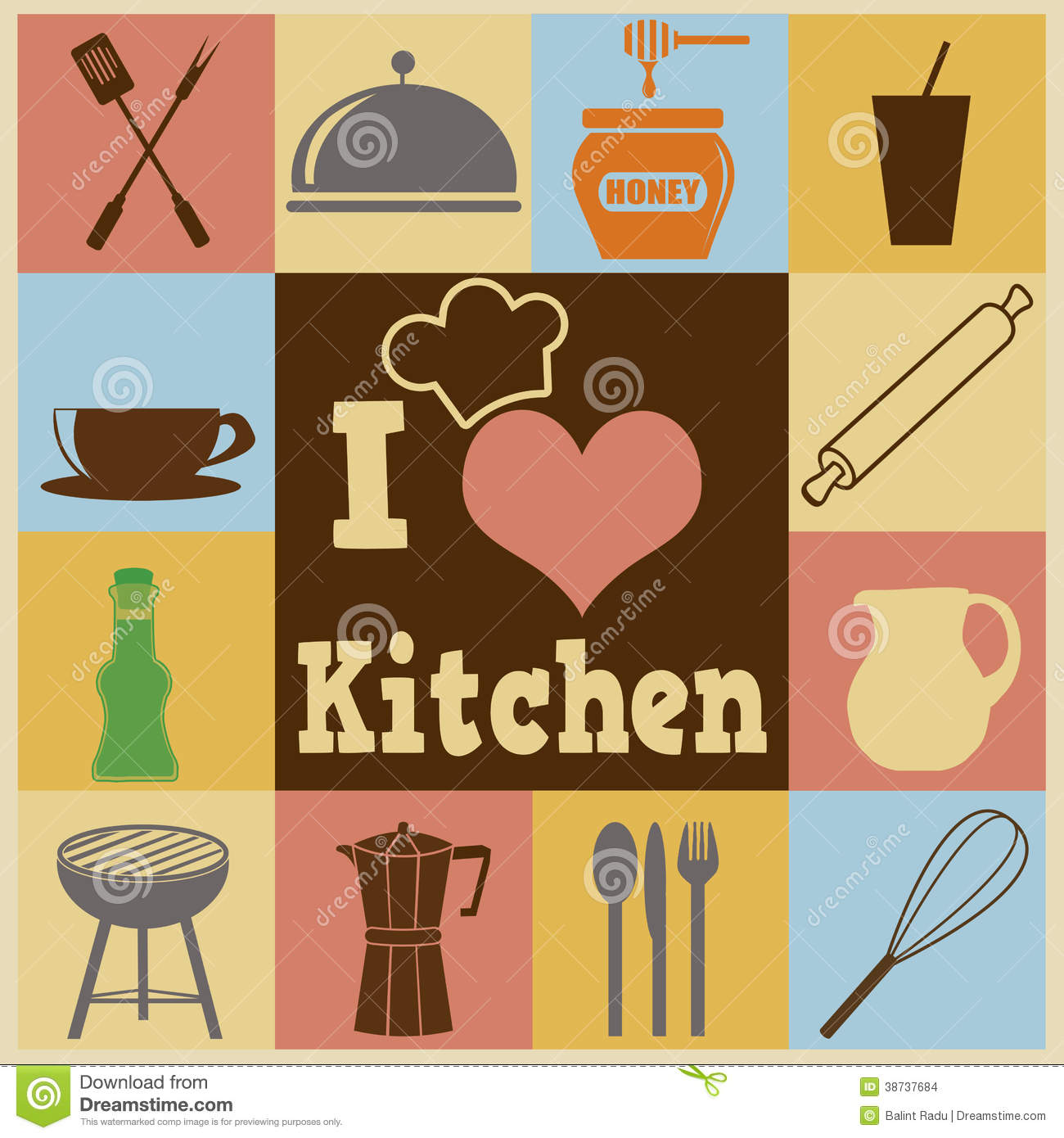 Kitchen Retro Poster Stock Images Image 38737684