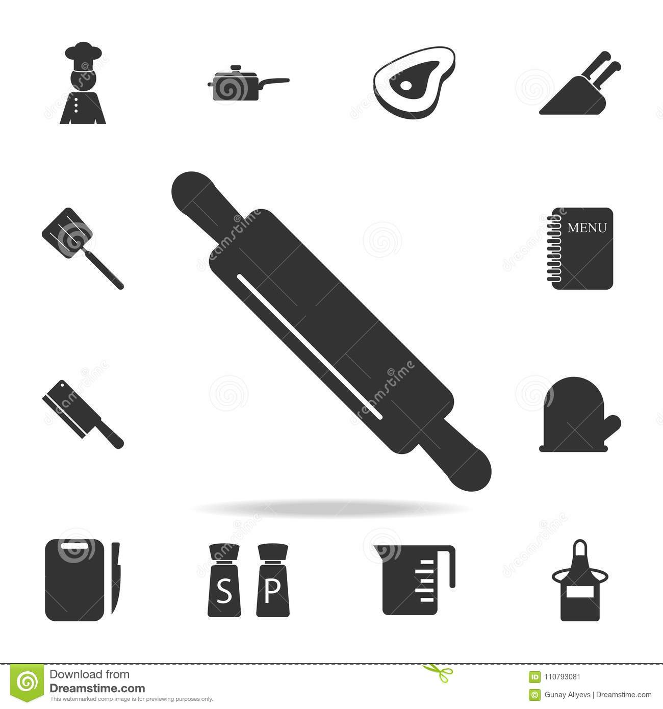 Kitchen rolling pin icon set of chef and kitchen element icons kitchen rolling pin icon set of chef and kitchen element icons premium quality graphic design signs and symbols collection ico buycottarizona Choice Image