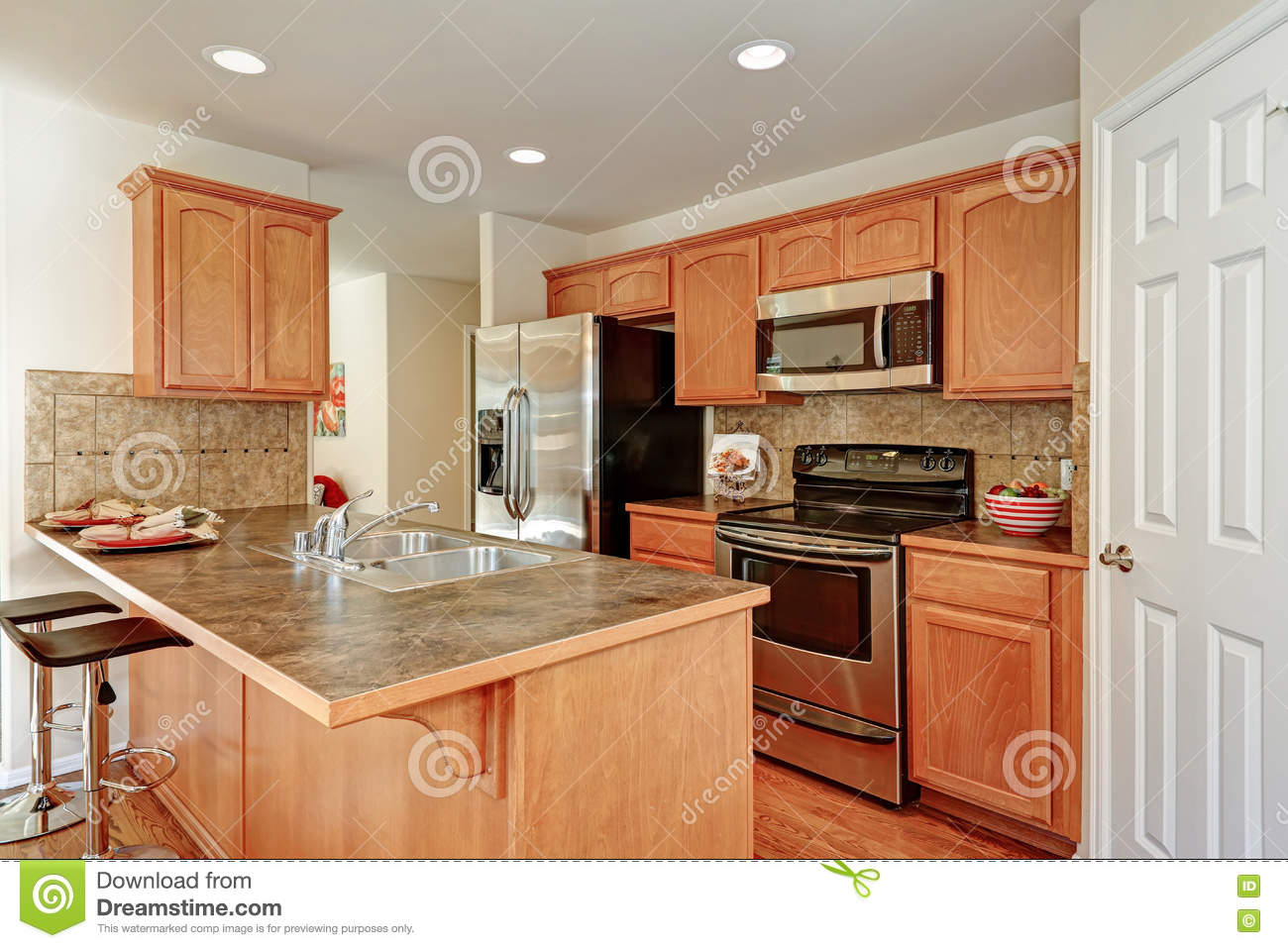 Kitchen Room In Brown And White Colors Stock Image Image Of Shiny Bright 80016555