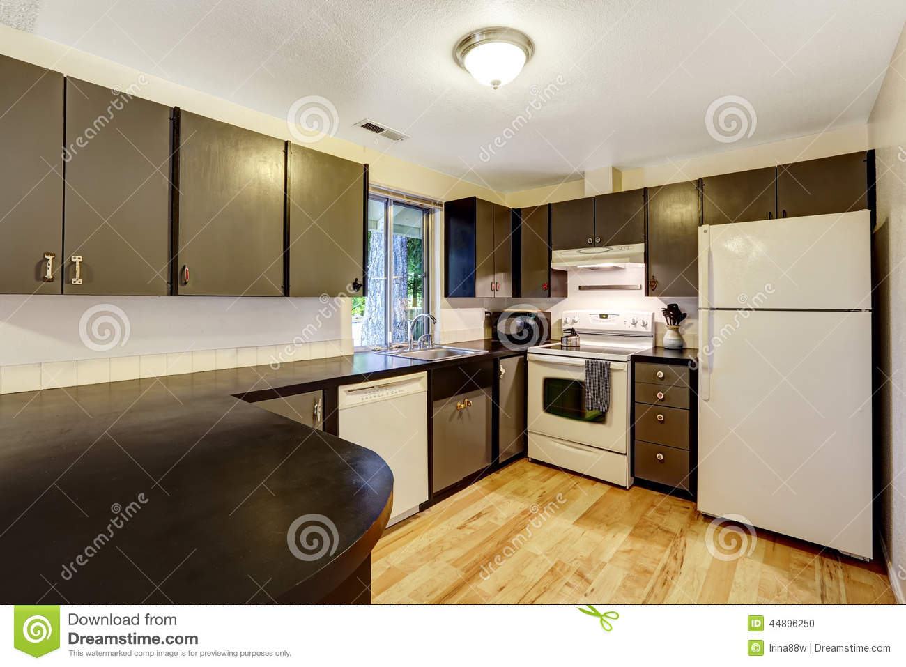 Kitchen Room In Contrast White And Black Colors Stock Photo Image Of Kitchen Northwest 44896250
