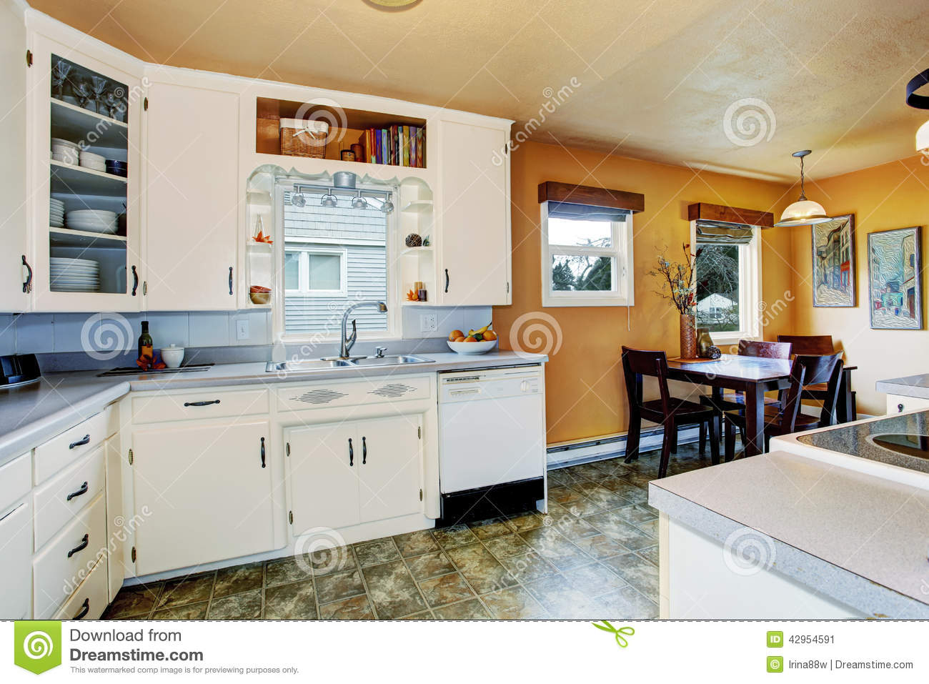 Kitchen Room With Dining Area In Old House Stock Photo